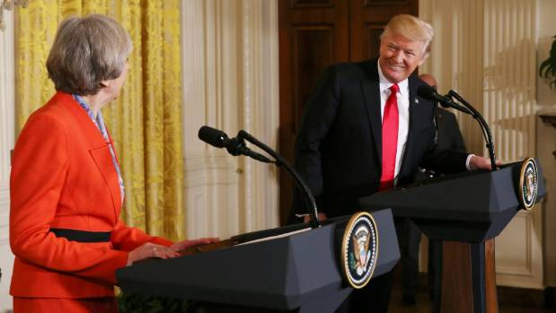 U.S. President Donald Trump and British Prime Minister Theresa May hold a joint news conference at the White House.