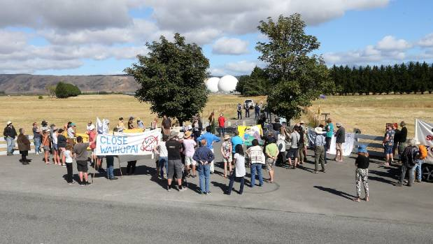 About 80 people gathered for the annual protest at the Waihopai spy base, west of Blenheim.