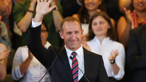 Labour Leader Andrew Little shares a stage with the Greens at the joint State of the Nation event In Auckland.