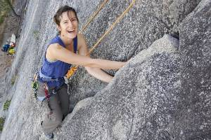 Irina Boiarkina, of the University of Auckland, rock-climbing during a visit to Squamish, Canada.