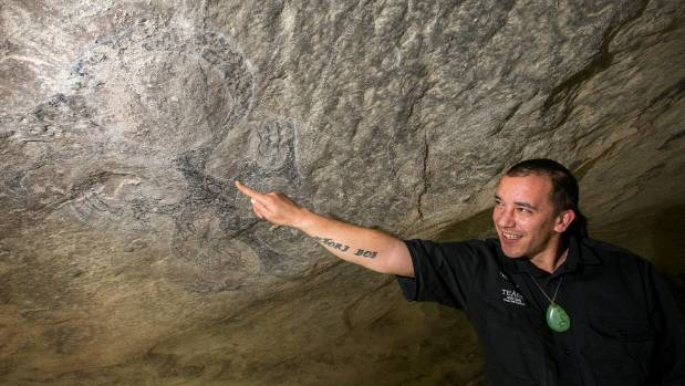 Te Ana rock art guide Wetere Home at the Opihi cave drawings ahead of the restoration project.