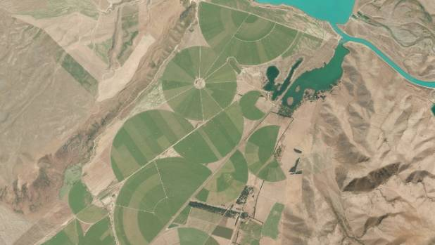 "Irrigation circles in the Mackenzie Basin, sometimes called the ""greening of the basin""."