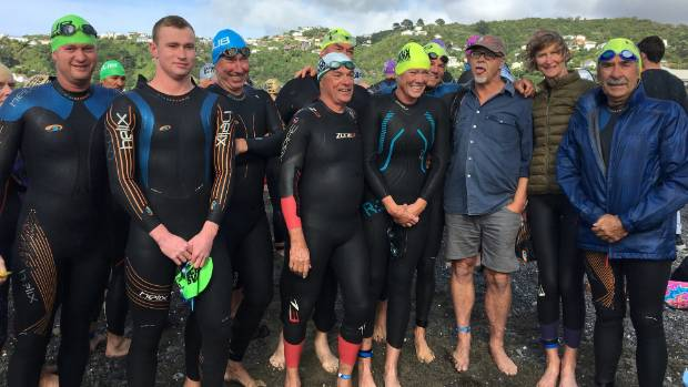 Nelson swimmers Terry Bone, left, Luke Kelly, Brian McGurk, Peter Gibbs, Dick Bennison, Kerry Mathieson, Barry Thomas, ...
