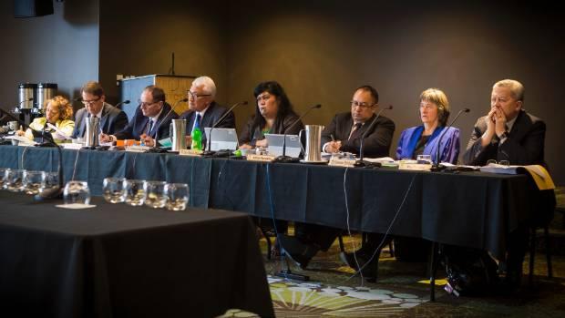 The Maori affairs select committee members: Marama Fox, Jonathan Young, Chester Borrows, Tutehounuku Korako, Nanaia ...