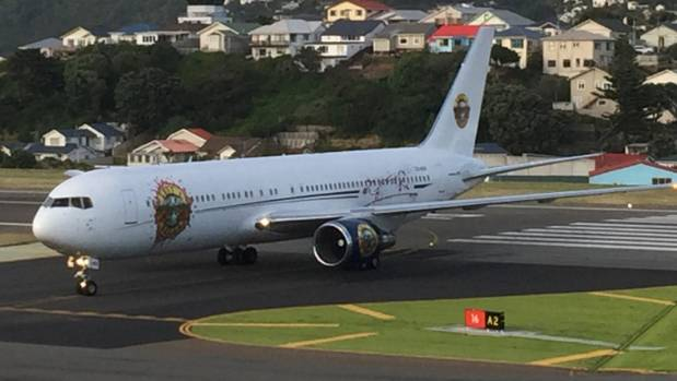 The distinctive plane touches down at Wellington airport.