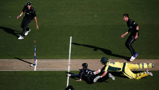 Captain Kane Williamson produces the match-winning run out to beat Australia in last season's Chappell-Hadlee Trophy ...