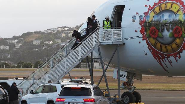 Guns n' Roses' plane pulls up at Wellington airport on Tuesday.