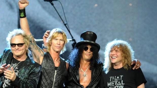 Guns N' Roses (L-R): Matt Sorum, Duff McKagan, Slash and Steven Adler.