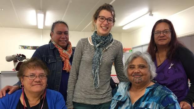 Kathy Patira-Mcgill, Oceane Siphan, June Togiatoma, Margarety MacDonald and Caroline Herewini at Porirua Women's Refuge.