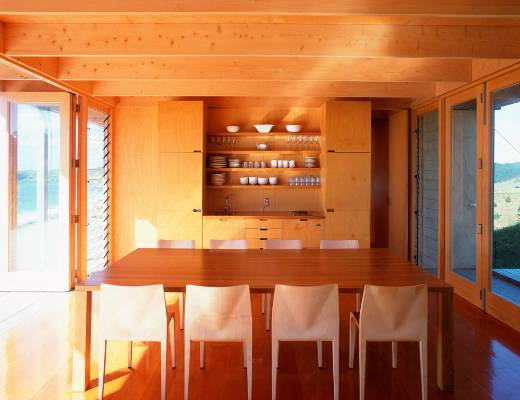Crafted timber also lines the interior.