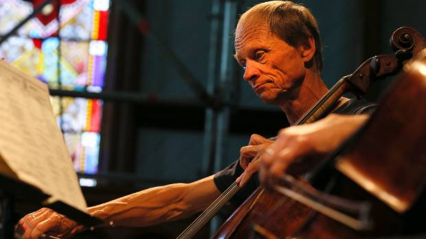 Rolf Gjelsten plays a cello at a rehearsal session for the Adam Chamber Music Festival at Old St John's.