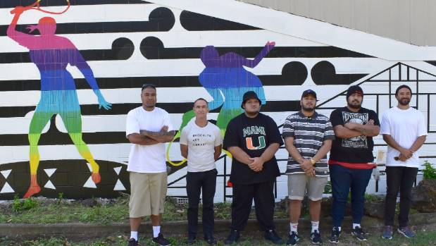 Among the Manukau Institute of Technology lecturers and students who contributed to the mural are, from left, Pale ...