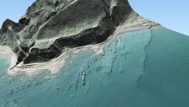 A 3D generated image showing the newly-raised sea floor, pictured here between the faultline furthest to right and the ...