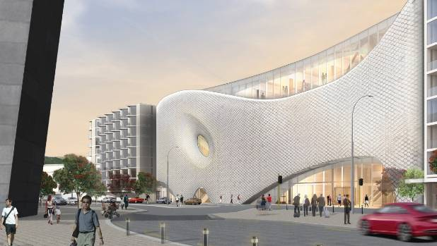 An artist's impression of Wellington's proposed new convention centre and movie museum, as seen from Cable St, which is ...