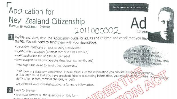Peter Thiel's application form for New Zealand citizenship.