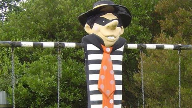 The Hamburglar dual swing set looks a little creepy but seems to still be in working order.