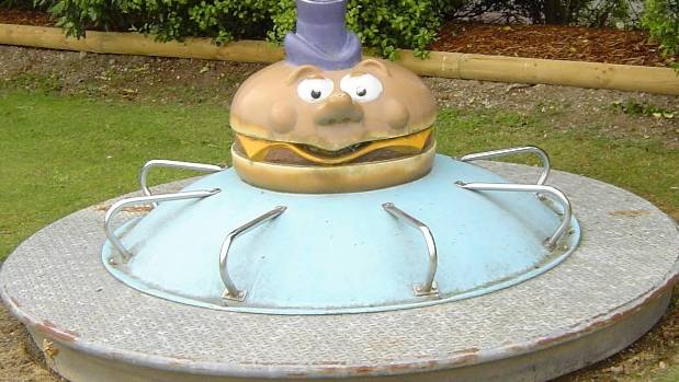 The Mayor McCheese roundabout would make an excellent focal point in any self-respecting playground hoarder's back yard.
