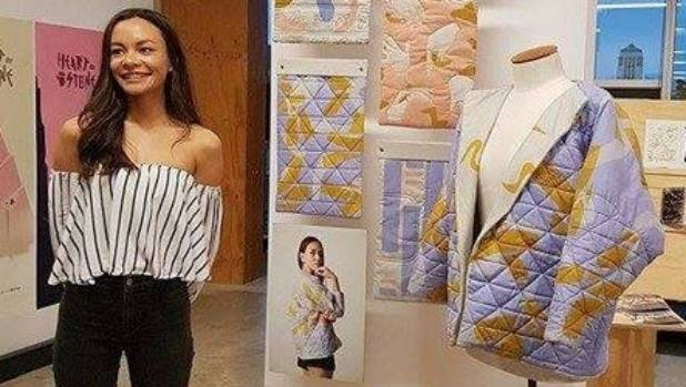 Steph Nelson seen here with her textiles graduate collection.