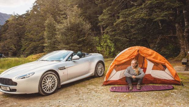 Camping on the Milford Road with the Aston.