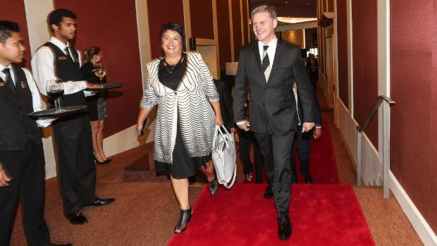 Bill English arrives at the Stamford Plaza in Auckland with Paula Bennett.
