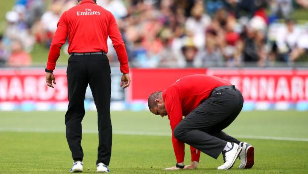 Umpires Kumar Dharmasena and Chris Brown check the playing surface ahead of the ill-fated ODI at McLean Park on February 2.