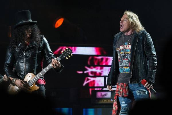 Slash and Axl work the stage.