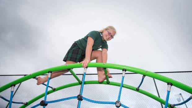 Mt Manganui Intermediate student Neve Ganley plays at school.