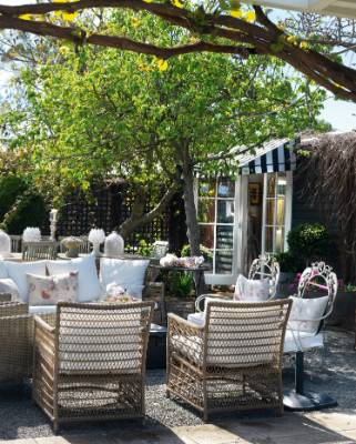 In summer, Tina Symmans' Hawke's Bay courtyard is used for casual dining when friends and family visit.