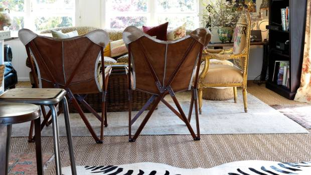 Twin cowhide butterfly chairs are ideal for the compact living area due to their portability.