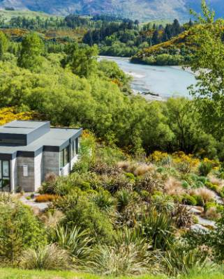 With panoramic views out over the Shotover River and up towards Coronet Peak, the property receives all-year sun.