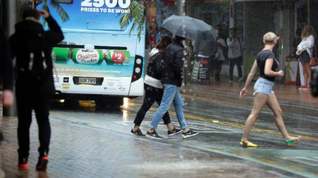 Downtown Wellington on January 4, when there were more winter jackets and umbrellas on show that T-shirts and shorts.