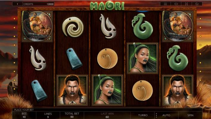 'Maori' used pounamu, carvings and figures of men and women as part of a slot game.
