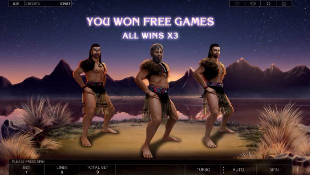The pokie-style game celebrated winning three free games with the haka Ka Mate.