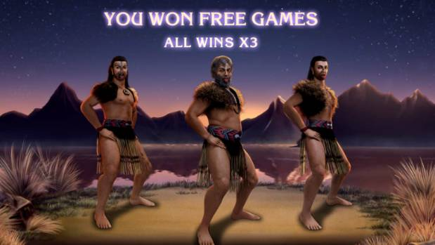The pokie-style game celebrated winning three free games with the haka Ka Mate.