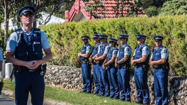 A large police presence as the Governor-General, Dame Patsy Reddy arrived at the controversial lower Marae to be ...