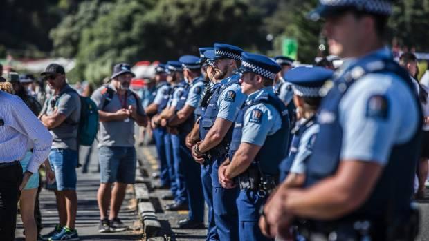 A major police presence outside Te Tii Marae at Waitangi, efforts have been made by Marae representatives to erect ...