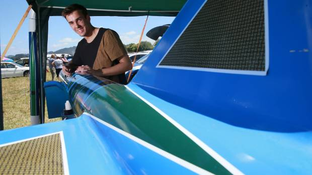 Jack Davies with his Marsden rocket – the biggest amateur rocket in the country.