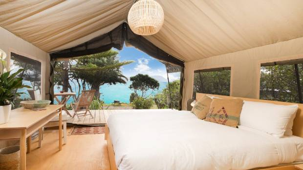 Inside a glamping tent on Slipper Island.
