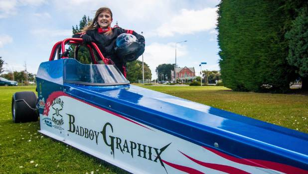 Brooke Acker, 9, will be racing her dragster for the first time at Teretonga in February.