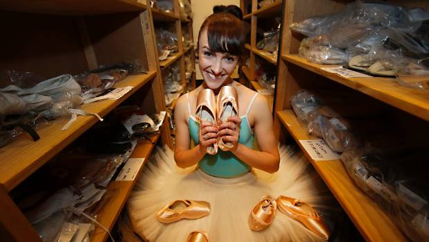 Clytie Campbell in the ballet shoe room at the Royal New Zealand Ballet company.