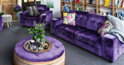 Jodie is threatening to have the living room couches reupholstered after Dave chose fabric a shade or two brighter than ...