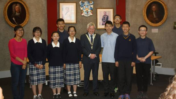 Students visiting from high schools in China are welcomed to Marlborough by mayor John Leggett.