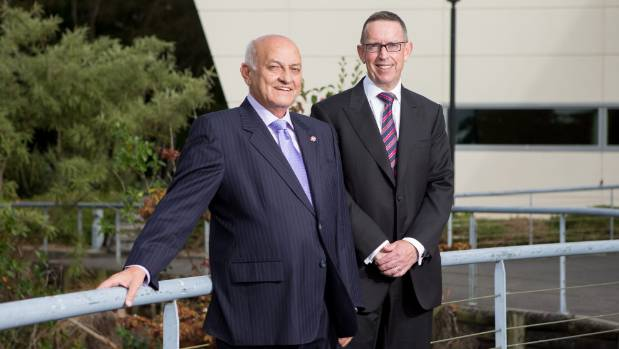 Waikato University Vice Chancellor Professor Neil Quigley, right, said Sir Owen Glenn's $5 million pledge to support a ...
