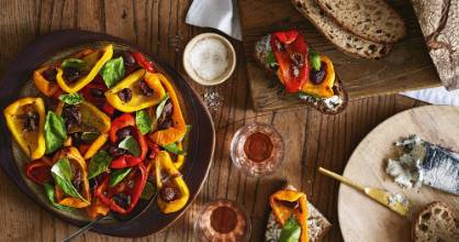 Roasted capsicum salad is delicious served with sourdough and goat's cheese.