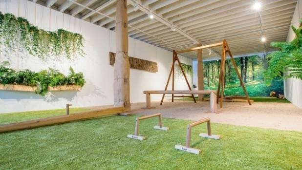 Biofit's pop-up uses hanging plants, earthy fungus, timber equipment and turf flooring to recreate the look and smell of ...