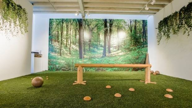 A large mural of a United Kingdom birch forest, paired with pine wood aromatherapy, is used to create the illusion of ...