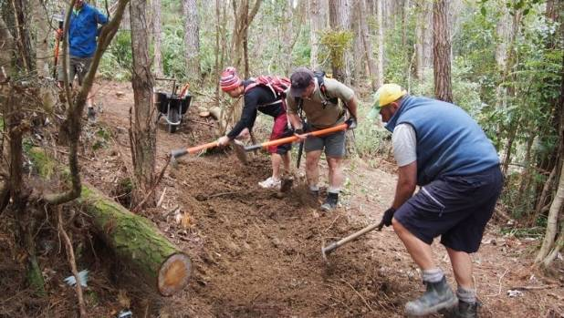 Ntrailz volunteers at work in Tunnel Gully.