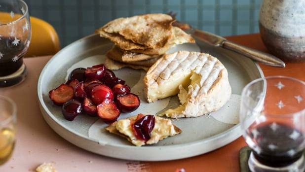 Pickled plums with washed rind cheese.
