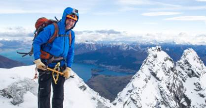 William Pike climbing in the Remarkables Conservation Area, Otago, while training for Antarctica.