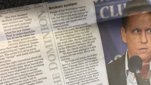 "The letter from PSA mental health delegates, published in The Dominion Post, which states ""we're struggling to do our jobs""."